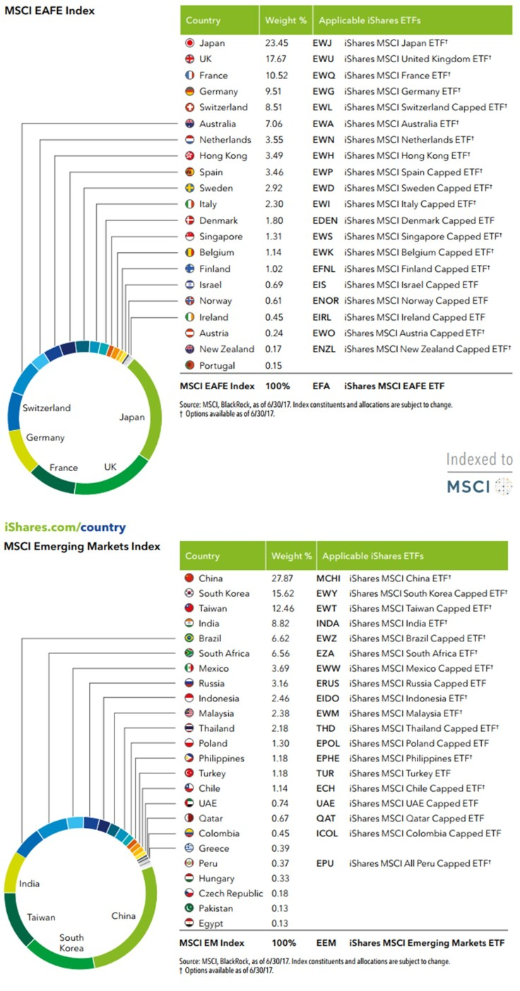 Country size of MSCI EAFE and Emerging Market indexes.